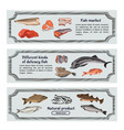 colored marine food horizontal banners vector image