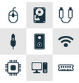set of 9 computer hardware icons includes aux vector image