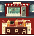 Cafe-Bar Facade and Interior in flat style vector image