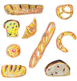 Bread and pastry set for the bakery in sketchy vector image