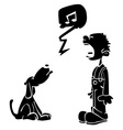 black boy and dog singing vector image vector image