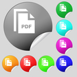 file PDF icon sign Set of eight multi colored vector image