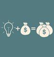 idea concept light bulb bag with money more vector image
