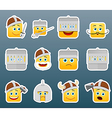 Knight smile stickers set vector image