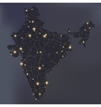 Night map of India with shiny cities vector image