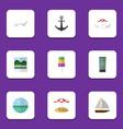 Flat icon beach set of ocean parasol sundae and vector image