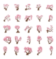 25 Cartoon sakura trees set vector image