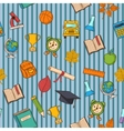 School pattern on striped blue background vector image
