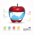 Abstract infographic Design world with apple templ vector image vector image