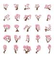 25 Cartoon sakura trees set vector image