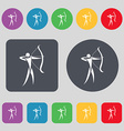 Archery icon sign A set of 12 colored buttons Flat vector image