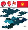 Kyrgyzstan map with named divisions vector image