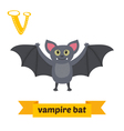 Vampire bat V letter Cute children animal alphabet vector image