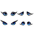 big blu girl character eyes emotion on face vector image