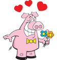 Cartoon Pig Holding Flowers vector image
