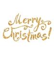 Golden glitter paint hand drawn Merry Christmas vector image