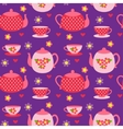 pattern of teapots and cups vector image