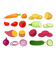 vegetable set garden plants in flat style vector image