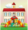 Children playing slide at school vector image