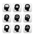 Head brain buttons set vector image vector image