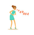 beautiful young woman laughing out loud and vector image