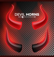 devils horns  red luminous horn isolated vector image
