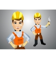 handsome young plasterer with trowel vector image