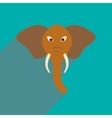 Modern flat icon with long shadow Indian elephant vector image