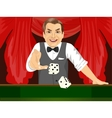 mature man throwing dice in casino playing craps vector image