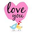 two birds and hearts card vector image