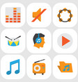 music flat icons set collection of button vector image