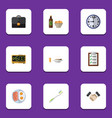 flat icon oneday set of electric alarm lunch vector image