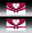 Gift cards with heart geometric pattern red bow ri vector image vector image