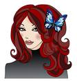 GirlWithButterflyInHair vector image