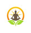 bio plant leaf healing meditation yoga logo vector image