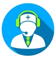 Medical Emergency Operator Flat Round Icon with vector image