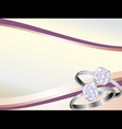 diamond rings sparkling on pink swirl background vector image