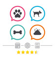 pets icons dog paw and feces signs vector image
