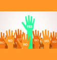 raised hands with one individuality or unique vector image