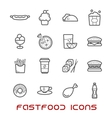 Restaurant and fast food thin line icons vector image