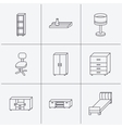 Single bed TV table and shelving icons vector image
