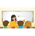 Teacher teaching kids in class vector image