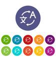 Translating set icons vector image