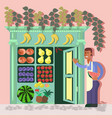 young fruit seller vector image