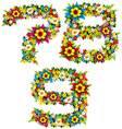 flower and bush letters 13 vector image