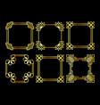 golden square asian retro frame vector image