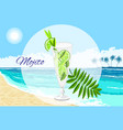 mojito cocktail on the seaside background vector image