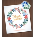 Happy Summer watercolor floral wreath with paper vector image