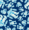Robot force seamless pattern on a navy background vector image