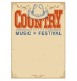 Poster music festival background with cowboy hat vector image